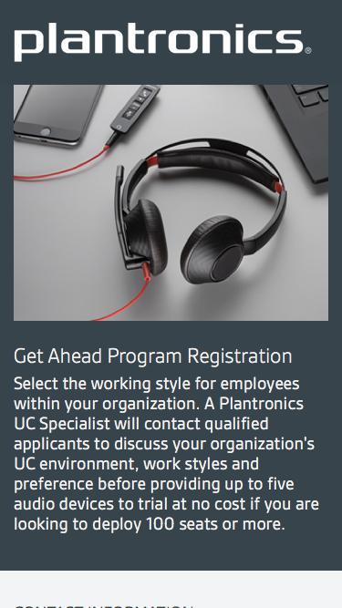 Get Ahead Program Registration | Plantronics