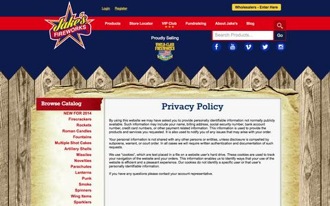 Screenshot of Privacy Page jakesfireworks.com - Privacy Policy - Jake's Fireworks - captured Sept. 19, 2014