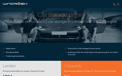 Screenshot of Pricing Page windrushcarstorage.co.uk - Car Storage Prices   Windrush Car Storage - captured Nov. 30, 2016