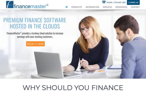 Screenshot of Home Page financemaster.com - FinanceMaster Premium Finance Software Hosted In The Clouds - captured Oct. 3, 2018