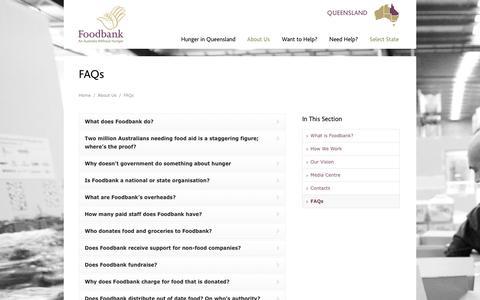 Screenshot of FAQ Page foodbankqld.org.au - FAQs - Foodbank Queensland - captured Oct. 6, 2014