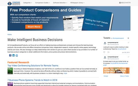 Screenshot of Home Page comparebusinessproducts.com - Business Technology Comparisons and Guides   Reviews, Comparisons and Buyer's Guides - captured July 20, 2018