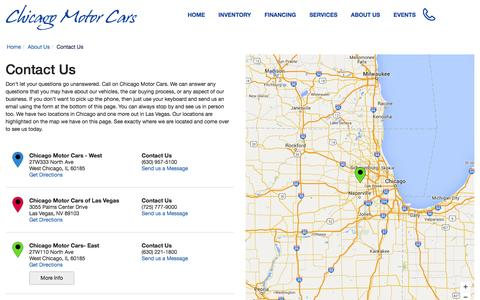 Screenshot of Contact Page Hours Page chicagomotorcars.com - Contact Chicago Motor Cars in Chicago Illinois - captured Feb. 20, 2016