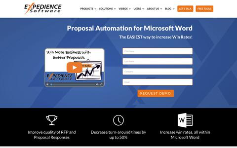 Screenshot of Home Page expediencesoftware.com - RFP Request For Proposal Automation Software For Microsoft Office - captured July 12, 2018
