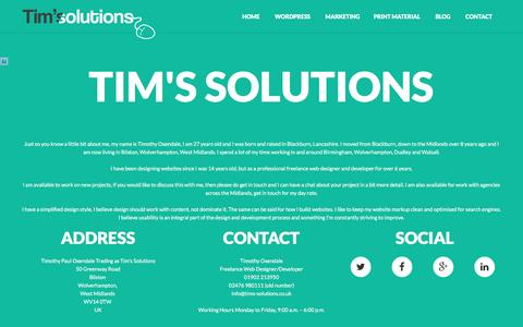 Screenshot of Contact Page timoxendale.co.uk - Contact Timothy Oxendale / Tim's Solutions | 01902 213950 - captured Dec. 2, 2016