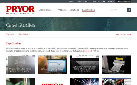 Screenshot of Case Studies Page pryormarking.com - Case Studies | Pryor Marking Technology - captured Feb. 2, 2016