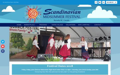 Screenshot of Maps & Directions Page scandinavianmidsummerfestival.com - Directions ⋆ Scandinavian Midsummer Festival | Burnaby, BC - captured Jan. 10, 2018