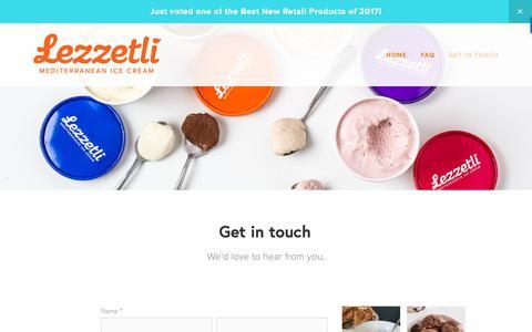 Screenshot of Contact Page lezzetliicecream.com - Get in touch — Lezzetli Mediterranean Ice Cream - captured Sept. 28, 2018