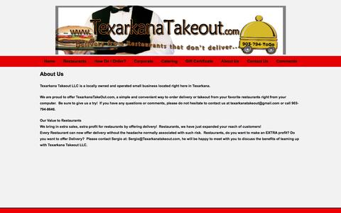 Screenshot of About Page texarkanatakeout.com - Texarkana Takeout - captured Oct. 7, 2014