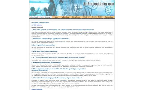 Screenshot of FAQ Page allbiotechjobs.com - Allbiotechjobs.com bringing together job seekers and job providers in Biotechnology - captured Feb. 5, 2016