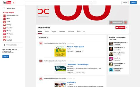 Screenshot of YouTube Page youtube.com - tootimedias  - YouTube - captured Oct. 25, 2014