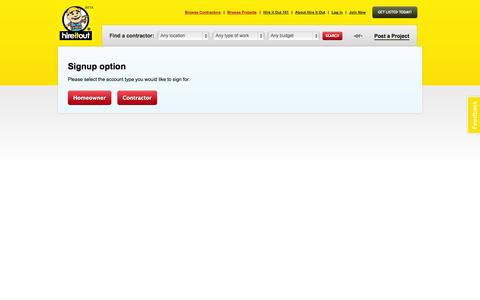 Screenshot of Signup Page hireitout.com - Signup | Hire It Out - captured Oct. 2, 2014