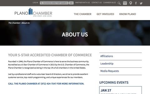 Screenshot of About Page planochamber.org - About the Plano Chamber of Commerce | Plano, Texas - captured Jan. 27, 2016