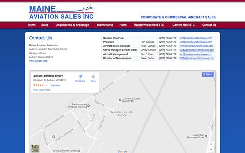 Screenshot of Contact Page maineaviationsales.com - Maine Aviation Sales Inc. - Corporate & Commercial Aircraft Sales - captured May 27, 2017