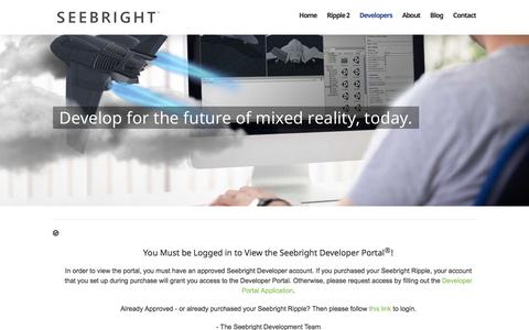 Screenshot of Developers Page seebright.com - Seebright Developer Portal – Seebright – Developer Kit & Environment for Mixed Reality - captured Nov. 1, 2017