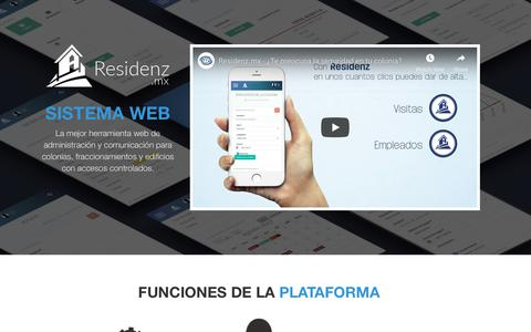Screenshot of Home Page residenz.mx - RESIDENZ | Administracion de colonias - captured Oct. 20, 2018