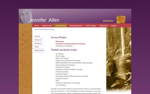 Screenshot of Services Page jenniferallenbooks.com - LMFT specializing in trauma & grief with children, teens, adults and families. - captured Oct. 4, 2014