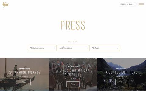 Screenshot of Press Page journeysbydesign.com - Press Archive - Journeys by Design - captured Oct. 16, 2017