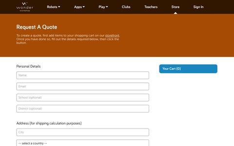 Screenshot of Landing Page makewonder.com - Download a Quote – Wonder Workshop - captured Aug. 17, 2016