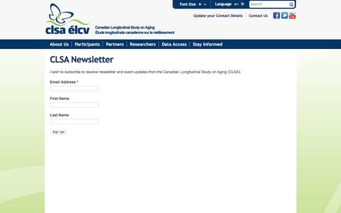 Screenshot of Signup Page clsa-elcv.ca - CLSA Newsletter | Canadian Longitudinal Study on Aging - captured Jan. 13, 2017