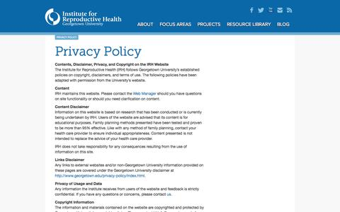 Screenshot of Privacy Page irh.org - Institute for Reproductive HealthPrivacy Policy   Institute for Reproductive Health - captured Oct. 6, 2014