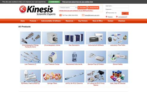 Screenshot of Products Page kinesis-usa.com - All Products - captured Oct. 6, 2014