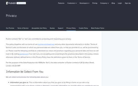 Screenshot of Privacy Page pusher.com - Privacy | Pusher - captured Sept. 17, 2017