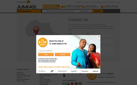 Screenshot of Contact Page jumia.com.ng - Contact us | Secure online shopping with Jumia - captured July 19, 2014