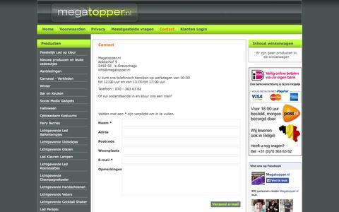 Screenshot of Contact Page securearea.eu - Contact met Megatopper.nl- Megatopper.nl - captured Nov. 2, 2014