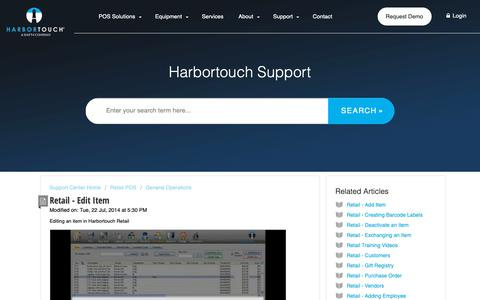 Screenshot of Support Page harbortouch.com - Retail - Edit Item : Harbortouch Support Center - captured Oct. 9, 2018