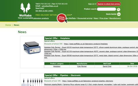 Screenshot of Press Page wolflabs.co.uk - Laboratory equipment product news - captured Oct. 18, 2018
