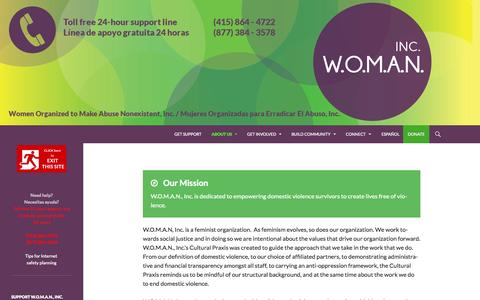 Screenshot of About Page womaninc.org - Mission & Core Values | - captured Nov. 5, 2014