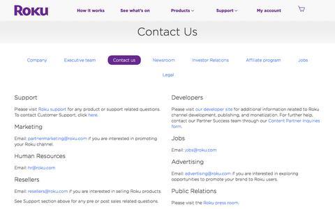 Screenshot of Contact Page roku.com - Contact | Roku - captured Feb. 21, 2018