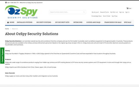 Screenshot of About Page ozspy.com.au - About Us - captured Oct. 9, 2018