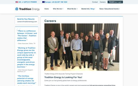 Screenshot of Jobs Page traditionenergy.com - Careers in Energy Procurement | Tradition Energy - captured April 20, 2018