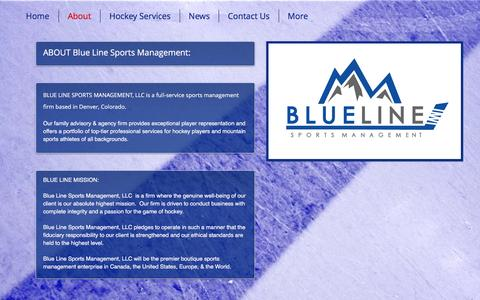 Screenshot of About Page blueline-sports.com - Blue Line Sports Management, LLC - Hockey Agency & Family Advisors | About - captured Nov. 22, 2016