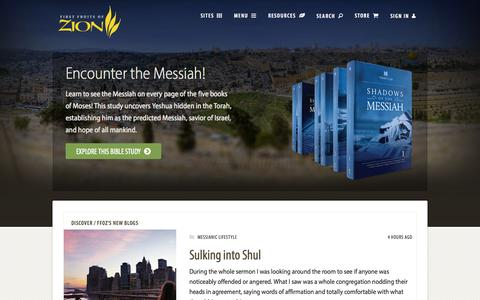 Screenshot of Home Page ffoz.org - First Fruits of Zion - captured Oct. 1, 2015