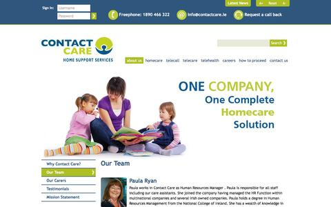 Screenshot of Team Page contactcare.ie - Our Team   About Us  Contact Care - Home Support Services - Dublin, Ireland - captured March 18, 2016