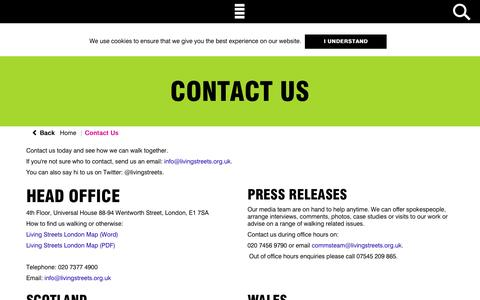 Screenshot of Contact Page livingstreets.org.uk - Contact Us | Living Streets - captured July 15, 2016