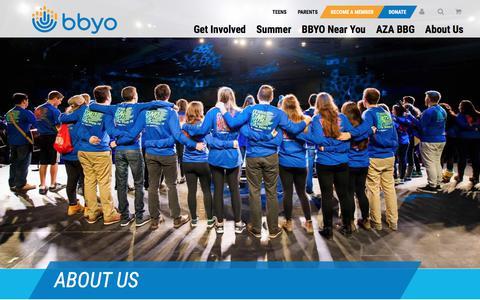 Screenshot of About Page bbyo.org - About Us - BBYO - captured July 31, 2018