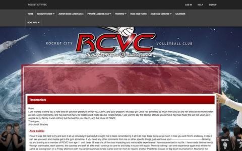 Screenshot of Testimonials Page rcvc.net - Rocket City VBC - Rocket City Volleyball Club - captured June 13, 2016
