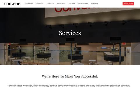 Screenshot of Services Page convene.com - Services - Convene - Meeting Rooms, Event Spaces, & Conference Centers - captured Oct. 11, 2017