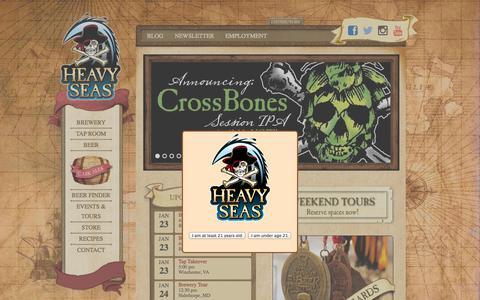 Screenshot of Home Page hsbeer.com - Heavy Seas Beer - captured Jan. 23, 2015