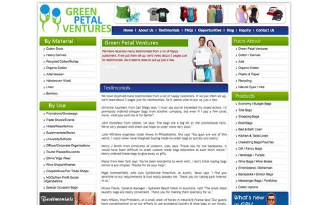 Screenshot of Testimonials Page greenpetalventures.com - See What Our Customers Have To Say About Us! - captured Sept. 30, 2014