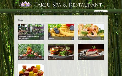 Screenshot of Menu Page taksuspa.com - Menus  —  Taksu Spa & Restaurant - captured Oct. 4, 2014