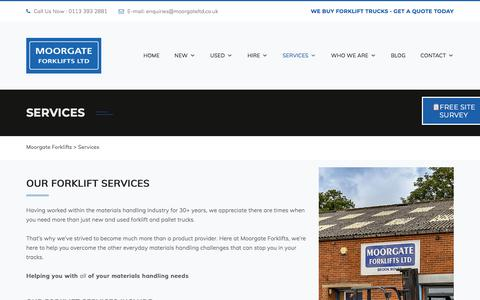 Screenshot of Services Page moorgateforklifts.co.uk - Forklift Truck Services | Training | Repairs | Servicing | Moorgate Forklifts - captured Aug. 19, 2019