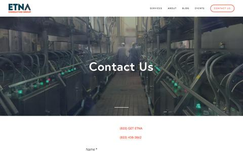 Screenshot of Contact Page etnaconsulting.com - Contact Us — Etna Consulting - captured July 21, 2018