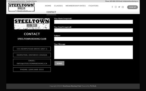 Screenshot of Contact Page Signup Page steeltownboxing.ca - Contact – Steeltown Boxing Club - captured June 29, 2018