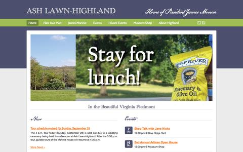 Screenshot of Home Page ashlawnhighland.org - Ash Lawn-Highland - captured Sept. 30, 2014