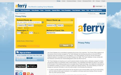 Screenshot of Privacy Page aferry.co.uk - Privacy Policy - captured Sept. 22, 2014